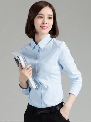 淺藍細直條紋 OL襯衫 OL套裝 制...