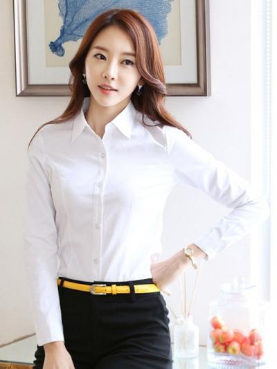 素面白襯衫(平價 長袖)OL 服飾 上衣 襯衫wcps03
