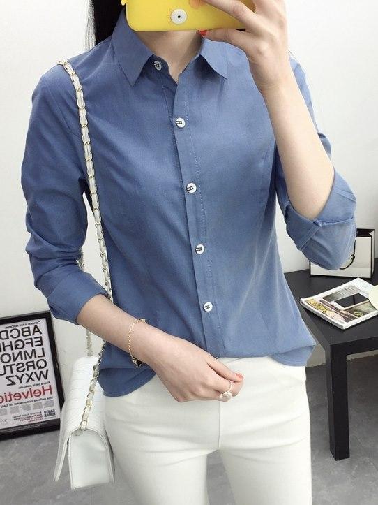 韓版,OL襯衫,藍,女裝,衣服,上衣,服飾