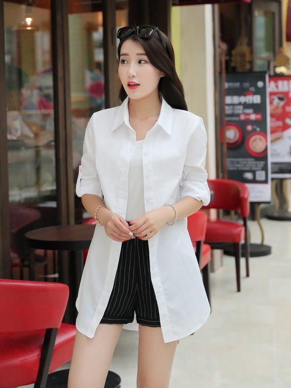 白襯衫,女,上班族襯衫,長版白襯衫,白色長版襯衫,ol,cpshirt