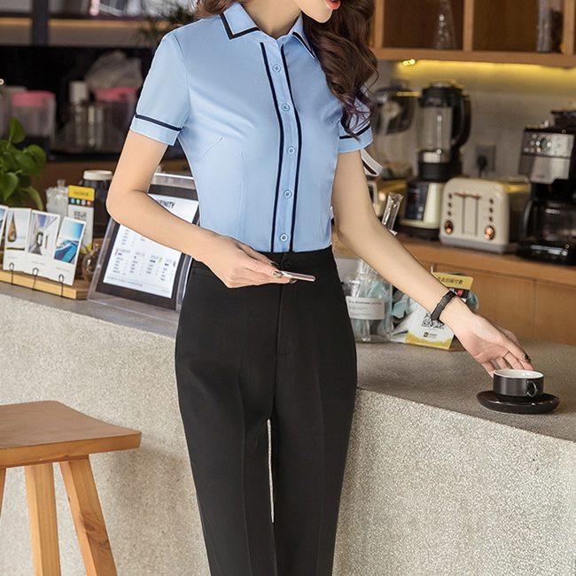 藍,女,上班族,短袖,免燙襯衫,ol襯衫