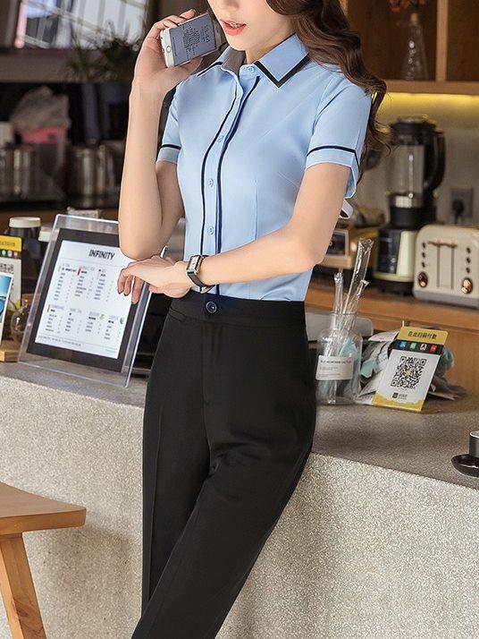 藍襯衫,女,上班族襯衫,短袖,免燙襯衫