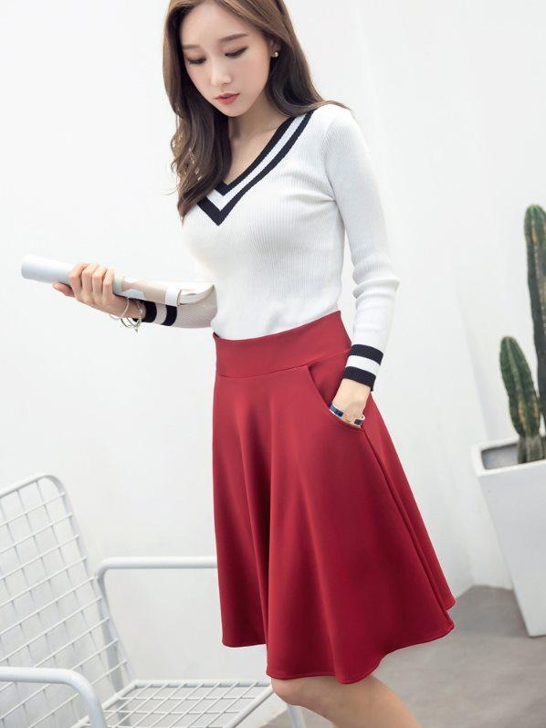 中長裙 及膝裙 A字裙