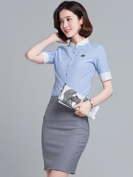 OL襯衫 女裝 短袖   OL上衣  韓版 工作服