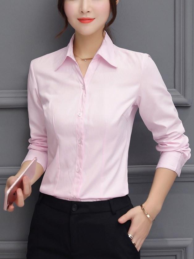 粉色襯衫 女 素面襯衫  上衣 上班 襯衫  服飾
