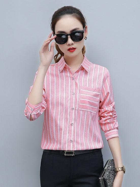 粉色襯衫女