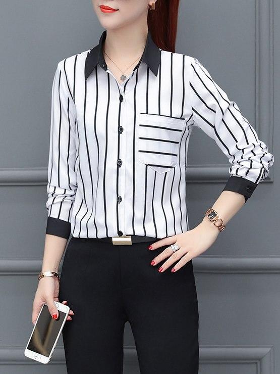 寬直條 OL襯衫 拼接襯衫 OL穿搭 女襯衫 長袖