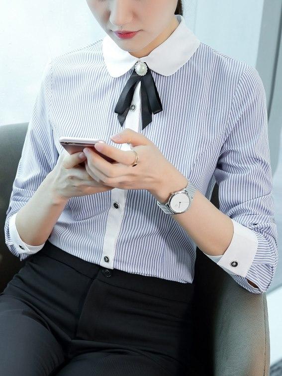 圓領,直條紋襯衫,女襯衫
