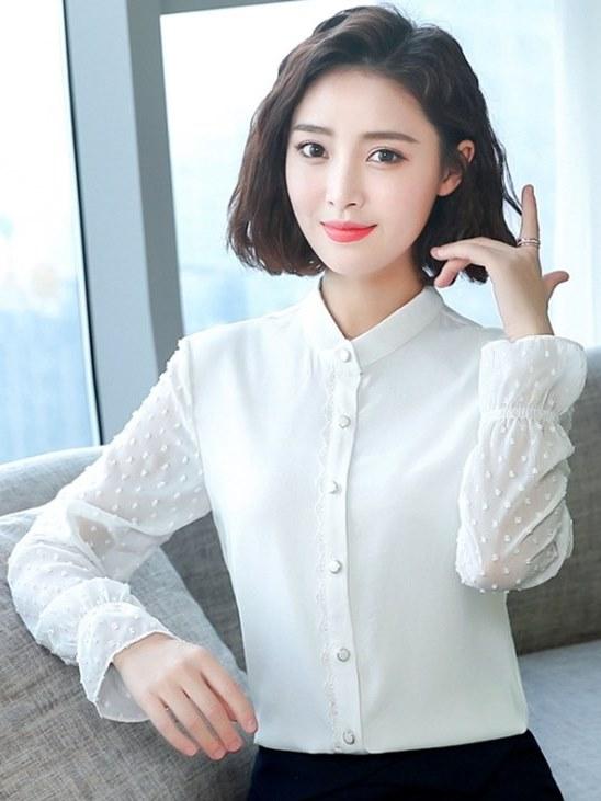 OL襯衫 立領 雪紡衫 韓版