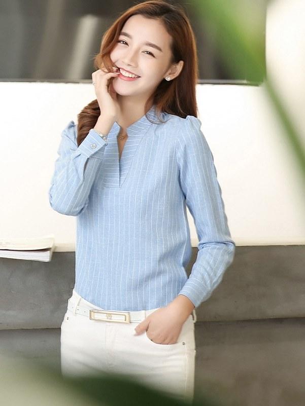 OL襯衫 直條紋  女襯衫