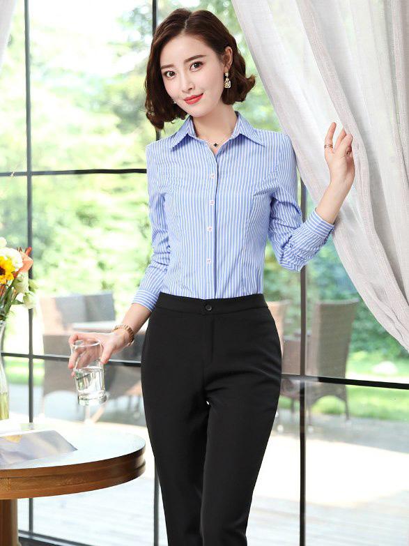 女襯衫,直條紋,藍