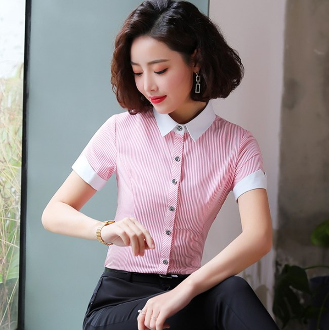 女襯衫 粉色 直條 短袖 OL襯衫