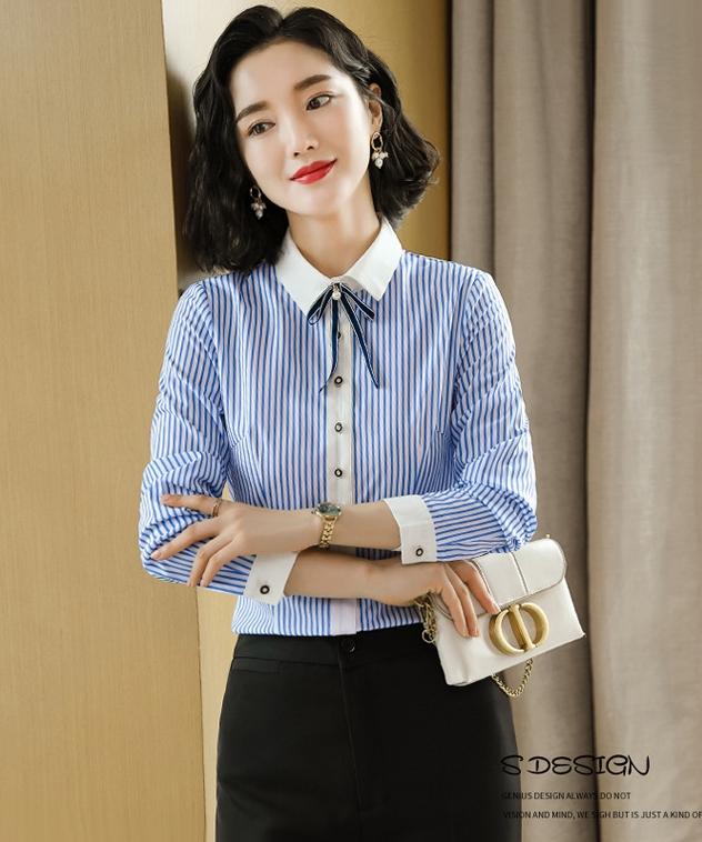 女襯衫 條紋襯衫  藍色  服飾 女  OL襯衫