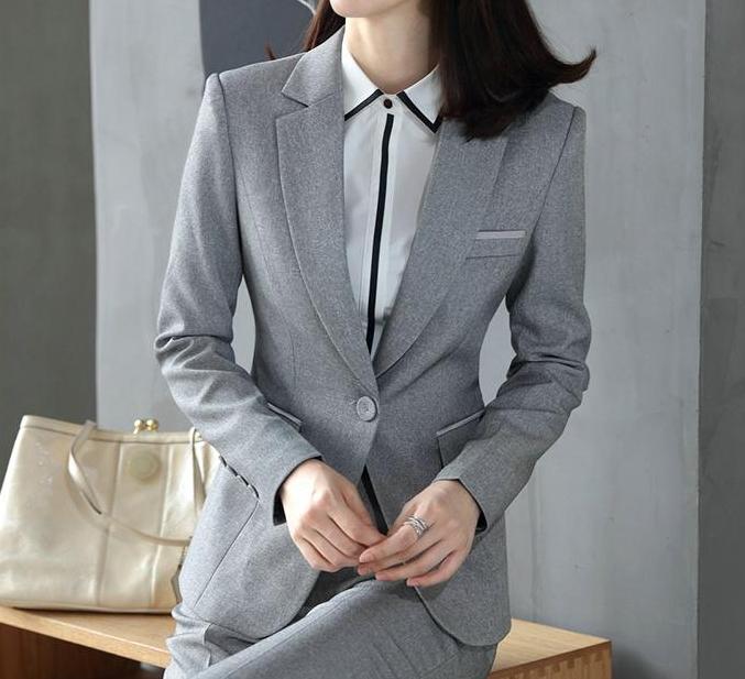 女 灰色西裝 外套