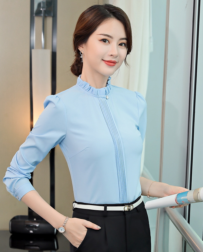藍襯衫 女   上衣 上班 襯衫 藍色襯衫  OL 服飾